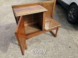 Solid Arts & Crafts Oak Bench Settle Window Hall Seat with Cupboard