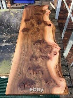 Solid Elm Live Edge Floating Shelf, Reclaimed, rustic Oak, chunky Tv Unit, Table
