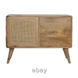 Solid Mango Wood Sideboard Cabinet with Woven Door and 3 Drawers Brass Knobs