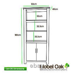 Solid Oak Bookcase Light Oak Tall Bookcase with Storage Cupboard 500