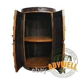 Solid Oak Drinks Cabinet Wine Rack Handmade & Recycled from Scotch Whisky Barrel