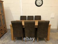 Solid Oak Extendable Dining Table & 6 Solid Oak Dining Chairs Oak Furniture
