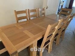 Solid Oak Extendable Dining Table With 8 Chairs