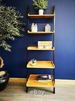 Solid Oak Ladder Shelving Unit / Modern Industrial Display Bookshelves / Shelves
