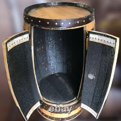 Solid Oak Refurbished Whisky Barrel Bar Poseur Table with Storage Cupboard