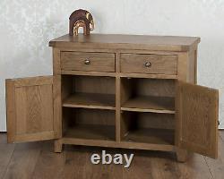 Solid Oak Sideboard Cupboard 2 Door 2 Drawer Cabinet in Chunky Dorset Country