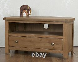 Solid Oak TV Cabinet Corner Stand Unit in Chunky Dorset Country