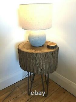 Solid Oak slice coffee table/lamp stand with 14 hairpin legs