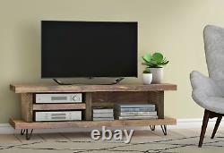 Solid Wood Rustic Handmade Pine Blissford TV Unit/Stand, Finished in Chunky Oak