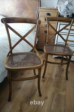 Solid Wood Traditional Cross Back Bentwood Chair Pair