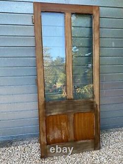 Solid oak door external / internal Victorian styled panelled d/glazed 96 x 224cm