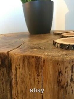 Solid oak slice coffee table with 14 hair pin legs