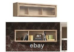 Sonoma Oak Wall Mounted Display Lift Up Glass Cabinet Shelf Storage Unit Kaspian