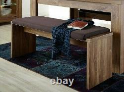 Sturdy Dining Seat Bench Upholstered Brown Cushion 126cm Medium Oak Effect Gent