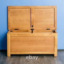 Surrey Oak Wooden Blanket Box Solid Wood Ottoman Chest Bedding Rustic Toy Trunk