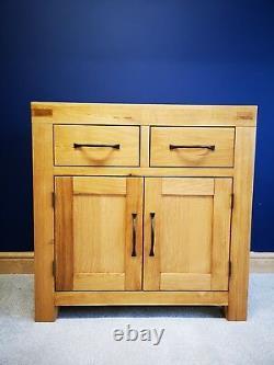 Sydney Modern Chunky Oak Mini Sideboard / Small Cupboard / Solid Oak Cabinet