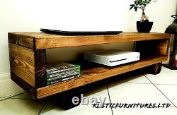TV Stand/TV Unit/Chunky Rustic Handmade Furniture/Solid Pine Wood/TV Cabinet