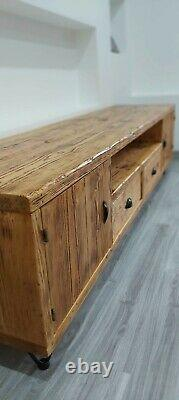 TV unit/stand/cabinet/Rustic bespoke solid wood industrial Large 195cm/8 colours