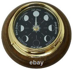 Tabic Prestige Solid Brass Moon Phase Clock Mounted on an English Oak mount