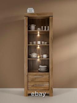 Tall Bookcase Shelving Unit 68cm Cabinet 2 Drawers LED's Medium Oak Effect Gent
