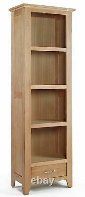 Tall Oak Bookcase 4 Shelf Storage Narrow Bookshelf Solid Wood Shelving Unit