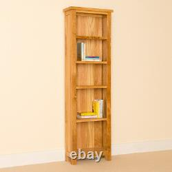 Tall Oak Bookcase Narrow Shelving Unit Newlyn Solid Wood Living Room Furniture