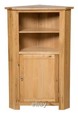 Tall Oak Corner Storage Cupboard Low Cabinet with Shelf Solid Wood Unit