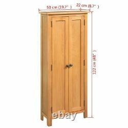 Tall Slim Solid Oak Cupboard Wooden Cabinet Storage Shelves Shelf Hallway Living