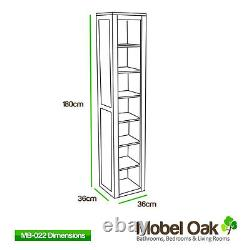 Tall Solid Oak Cabinet Bathroom & Living Room Storage Furniture MB-022
