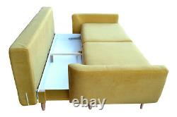 Three 3 Seater Sofa Bed with Storage, Soft Fabric, Oak Legs, Super Design
