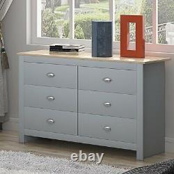 Traditional Grey & Light Oak 6 Drawer Chest Shaker Style Hallway Sideboard