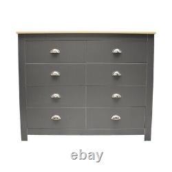Traditional Shabby Chic Dark Grey & Light Oak 8 Drawer Chest Hallway Sideboard