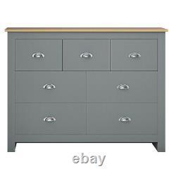 Traditional Shaker Style 7 Drawer Merchant Chest Grey & Light Oak Sideboard