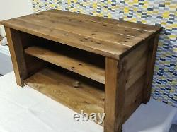 Tv Unit Solid Wood Chunky Stand Side Board Entertainment Centre Led