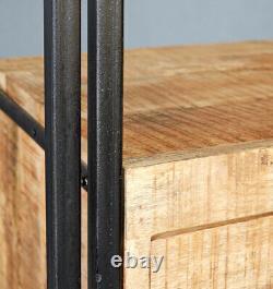 Urban Industrial 3 Door Sideboard Retro Rustic Solid Wood Metal Medium Oak