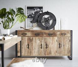 Urban Industrial Extra Large Sideboard Retro Rustic Solid Wood Metal Medium Oak