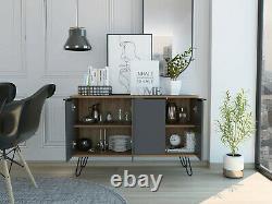 Vegas Industrial Style Bleached Oak Grey Effect Melamine Large 4 Door Sideboard