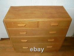 Vintage Retro MID Century Raf Air Ministry Military Light Oak Chest Of Drawers