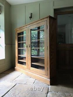 Vintage Solid Oak & Ply Glazed Display China Bookcase Drinks Cabinet Cupboard