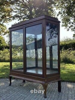 Vintage Solid Wood & Ply Display China Bookcase Drinks Cabinet Cupboard