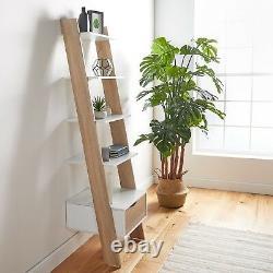 VonHaus Ladder Bookcase Scandinavian Nordic White and Light Oak Effect Bookshelf