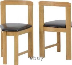 Windsor Stowaway Dining Set Oak Varnish and Brown Faux Leather