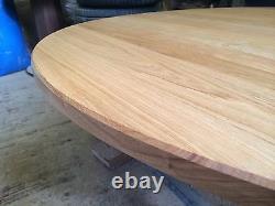 1500mm / 150cm Solide Chêne Rond Pedestal Leg Table Fabriqué À La Main Sur Commande