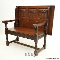 Ancien Charme Métamorphique Monks Banc / Settle / Table Tudor Brown Livraison Gratuite Au Royaume-uni