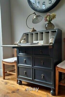 Antique Vintage Peintd Farrow & Ball Chêne Bureau Bureau D'étude Ordinateur