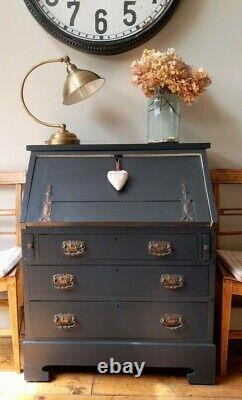 Antique Vintage Peintd Farrow&ball Art Nouveau Chêne Bureau Bureau D'étude Ordinateur