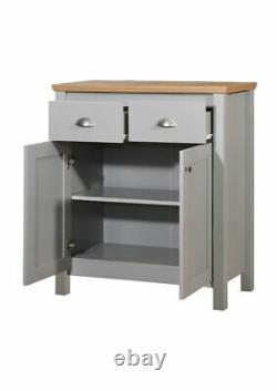 Armoire Latérale Multi-unités Sideboard 2 Tiroirs Armoire De Rangement Grey Oak
