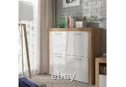 Armoire Moderne En Chêne Brillant Blanc Brillant 4 Porte Carrée Balder