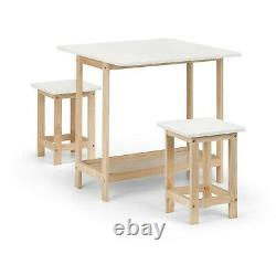 Bergen Drop Leaf Bar Table Chêne Et White 2 Tabourets