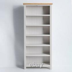 Bibliothèque Farrow Grey Tall Grand Bois Massif Peint 6 Plate-forme De Livre Display Unit Chêne